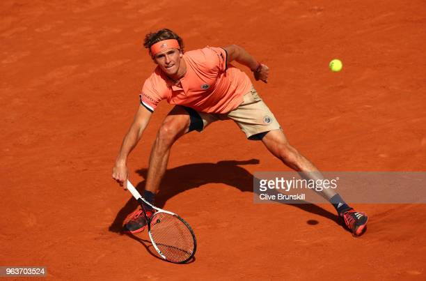 Alexander Zverev of Germany plays a forehand during the mens singles second round match against Dusan Lajovic of Serbia during day four of the 2018...