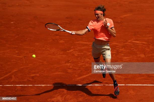 Alexander Zverev of Germany plays a forehand during the mens singles fourth round match against Karen Khachanov of Russia during day eight of the...