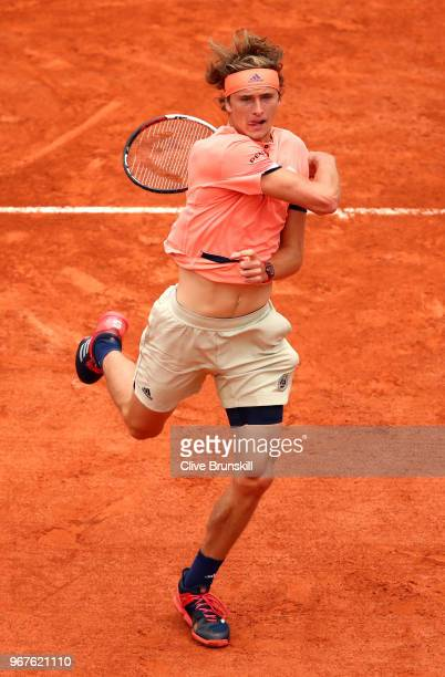 Alexander Zverev of Germany plays a forehand during the mens singles quarter finals match against Dominic Thiem of Austria during day ten of the 2018...