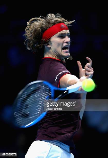 Alexander Zverev of Germany plays a forehand during the singles match against Jack Sock of The United States on day five of the 2017 Nitto ATP World...
