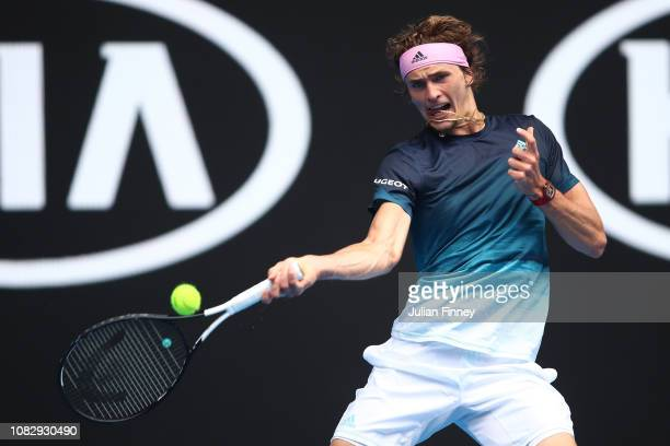 Alexander Zverev of Germany plays a forehand in his first round match against Aljaz Bedene of Slovenia during day two of the 2019 Australian Open at...