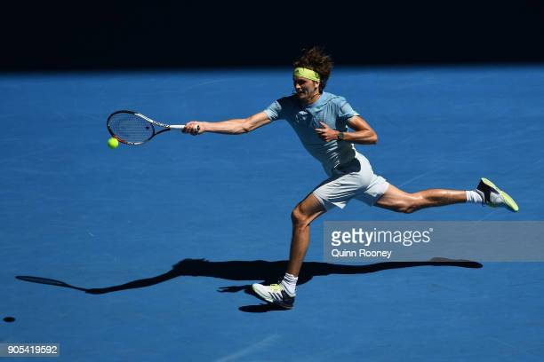 Alexander Zverev of Germany plays a forehand in his first round match against Thomas Fabbiano of Italy on day two of the 2018 Australian Open at...