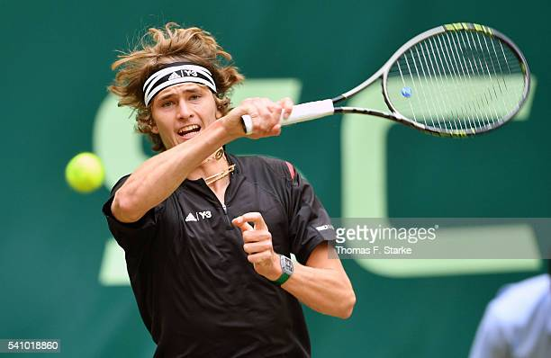 Alexander Zverev of Germany plays a forehand in his half final match against Roger Federer of Switzerland during day six of the Gerry Weber Open at...