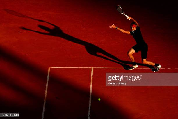 Alexander Zverev of Germany plays a forehand in his match against RIchard Gasquet of France during day six of the ATP Masters Series Monte Carlo...