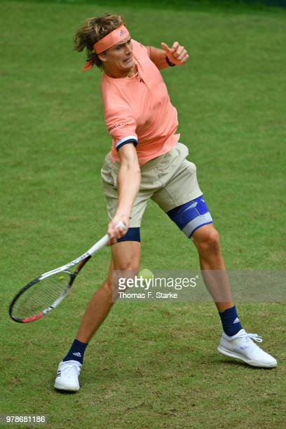 Alexander Zverev of Germany plays a forehand in his match against Borna Coric of Croatia during day two of the Gerry Weber Open at Gerry Weber...