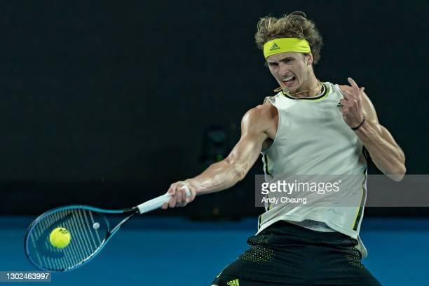 Alexander Zverev of Germany plays a forehand in his Men's Singles Quarterfinals match against Novak Djokovic of Serbia during day nine of the 2021...