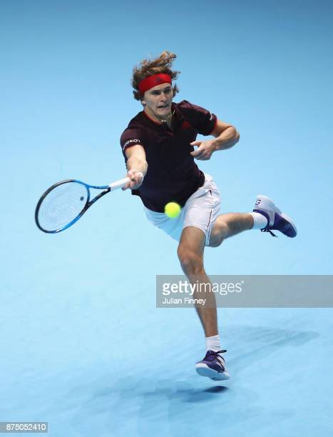 Alexander Zverev of Germany plays a forehand in his Singles match against Jack Sock of the United States during day five of the Nitto ATP World Tour...