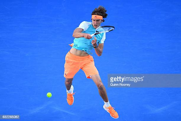 Alexander Zverev of Germany plays a forehand in his third round match against Rafael Nadal of Spain on day six of the 2017 Australian Open at...