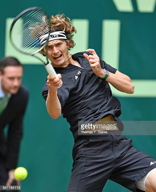 Alexander Zverev of Germany plays a forehand in the final match of the Gerry Weber Open against Florian Mayer of Germany at Gerry Weber Stadium on...