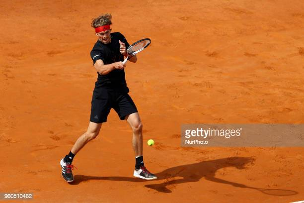 Alexander Zverev of Germany plays a forehand shot during the Mens Singles final match between Rafael Nadal and Alexander Zverev on Day Eight of the...