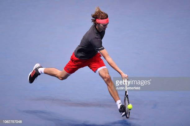 Alexander Zverev of Germany plays a forehand shot in his semi finals singles match against Roger Federer of Switzerland during Day Seven of the Nitto...