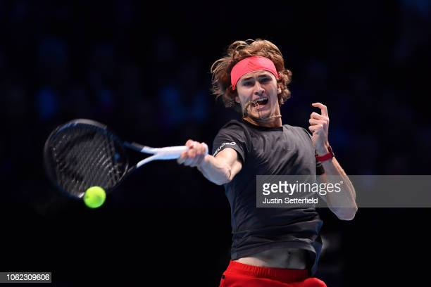 Alexander Zverev of Germany plays a forehand shot in his third singles round robin match against John Isner of The United States during Day Six of...