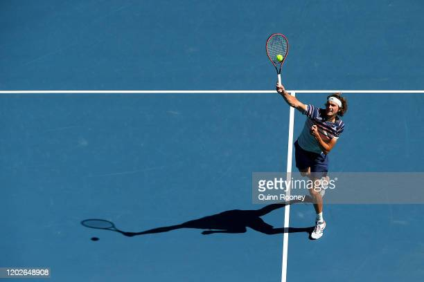 Alexander Zverev of Germany plays a forehand smash during his Men's Singles Quarterfinal match against Stan Wawrinka of Switzerland on day ten of the...