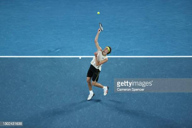 Alexander Zverev of Germany plays a forehand smash in his Men's Singles Quarterfinals match against Novak Djokovic of Serbia during day nine of the...