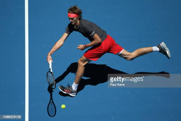 Alexander Zverev of Germany plays a forehand to David Ferrer of Spain during day two of the 2019 Hopman Cup at RAC Arena on December 30 2018 in Perth...