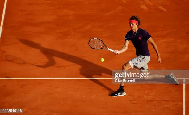 Alexander Zverev of Germany plays a forehand volley against Fabio Fognini of Italy in their third round match during day five of the Rolex...