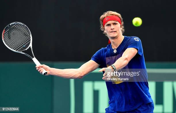 Alexander Zverev of Germany plays a forehand volley during a practice session ahead of the Davis Cup World Group First Round tie between Australia...