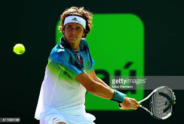 Alexander Zverev of Germany plays a match against Michael Mmoh during Day 3 of the Miami Open presented by Itau at Crandon Park Tennis Center on...