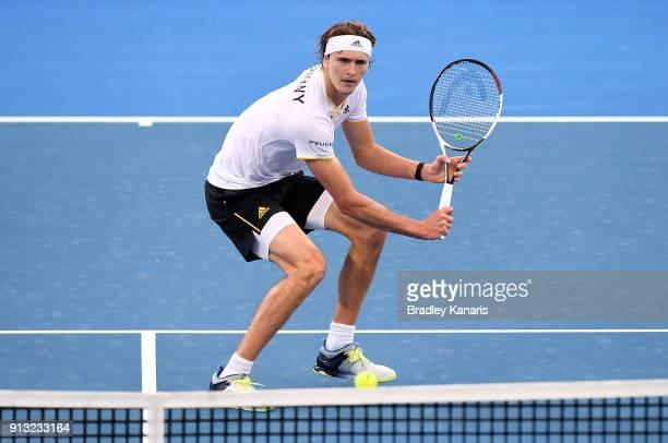 Alexander Zverev of Germany plays a shot against Alex de Minaur of Australia during the Davis Cup World Group First Round tie between Australia and...