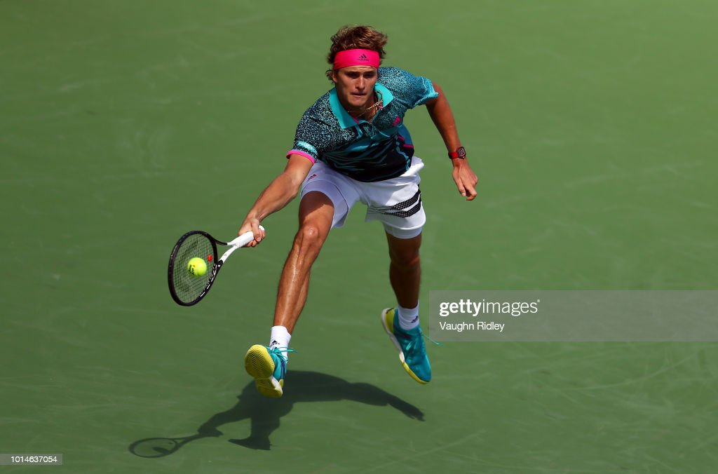 Alexander Zverev of Germany plays a shot against Stefanos Tsitsipas of Greece during a quarter final match on Day 5 of the Rogers Cup at Aviva Centre on August 10, 2018 in Toronto, Canada.
