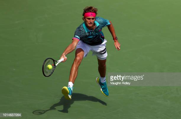 Alexander Zverev of Germany plays a shot against Stefanos Tsitsipas of Greece during a quarter final match on Day 5 of the Rogers Cup at Aviva Centre...