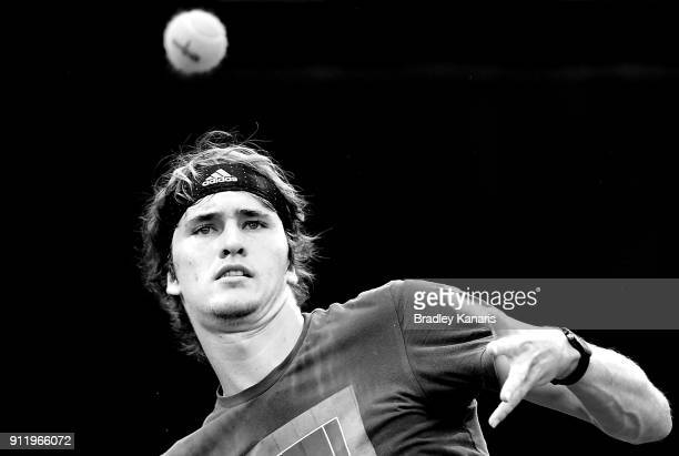 Alexander Zverev of Germany plays a shot during a practice session ahead of the Davis Cup World Group First Round tie between Australia and Germany...
