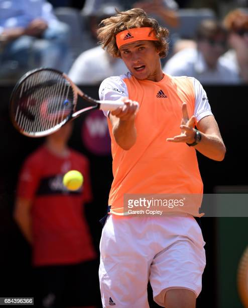Alexander Zverev of Germany plays a shot during his 3rd round match against Fabio Fognini of Italy in The Internazionali BNL d'Italia 2017 at Foro...