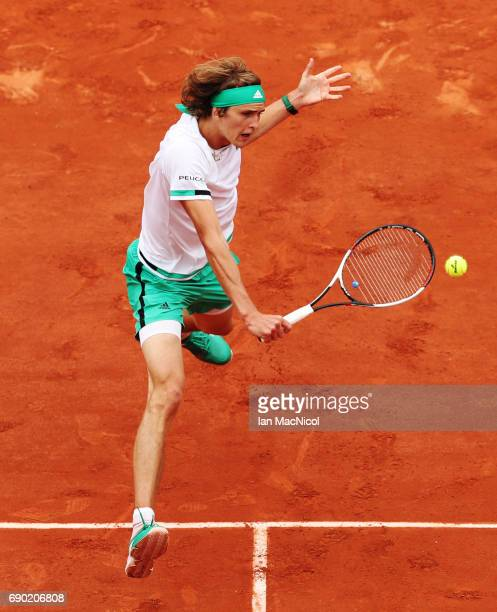 Alexander Zverev of Germany plays a shot during his match with Fernando Verdasco of Spain during Day Three at Roland Garros on May 30 2017 in Paris...