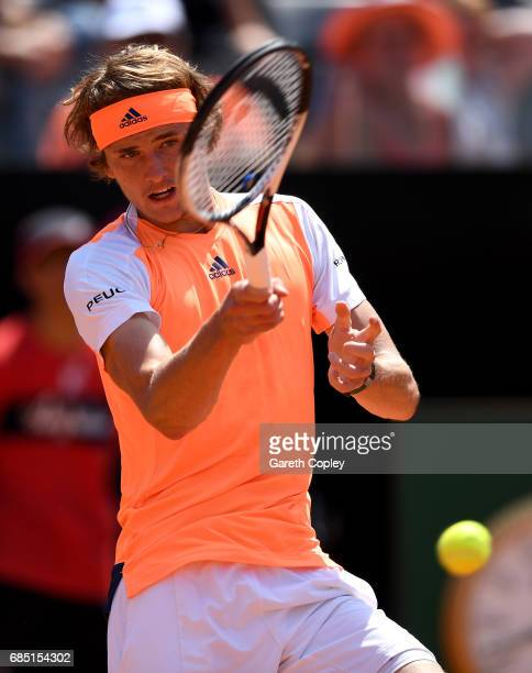Alexander Zverev of Germany plays a shot during his quarter final match against Milos Raonic of Canada in The Internazionali BNL d'Italia 2017 at...