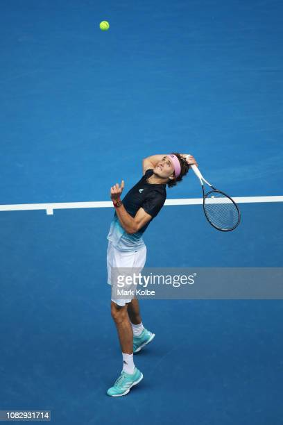Alexander Zverev of Germany plays an over head shot in his first round match against Aljaz Bedene of Slovenia during day two of the 2019 Australian...