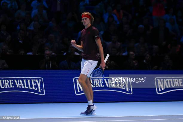 Alexander Zverev of Germany plays in the singles match against Roger Federer of Switzerland on day three of the Nitto ATP World Tour Finals at O2...