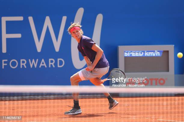 Alexander Zverev of Germany plays the ball during his second round match against Juan Ignacio Londero of Argentina on day 5 of the BMW Open at MTTC...