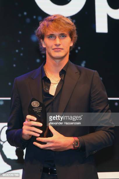Alexander Zverev of Germany poses with the IPHITOS Award during the Players Night 2018 on day 3 of the BMW Open by FWU at MTTC IPHITOS on April 30...