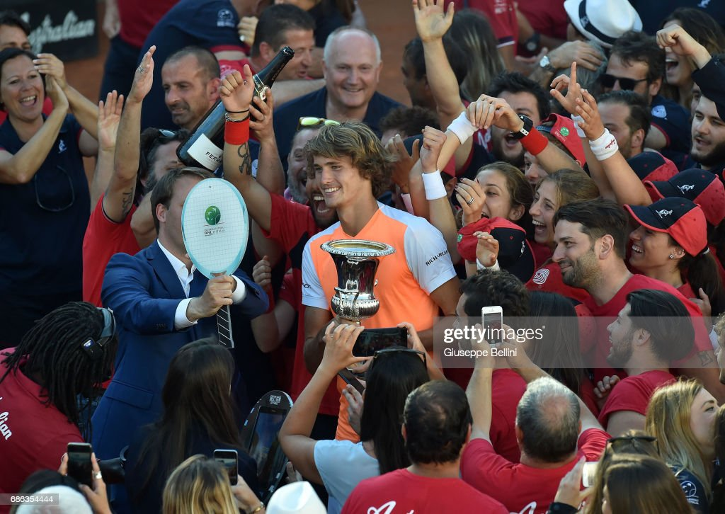 Alexander Zverev of Germany poses with the trophy after winning the ATP Singles Final match between Alexander Zverev of Germany and Novak Djokovic of Serbia during The Internazionali BNL d'Italia 2017 - Day Eight at Foro Italico on May 21, 2017 in Rome, Italy.