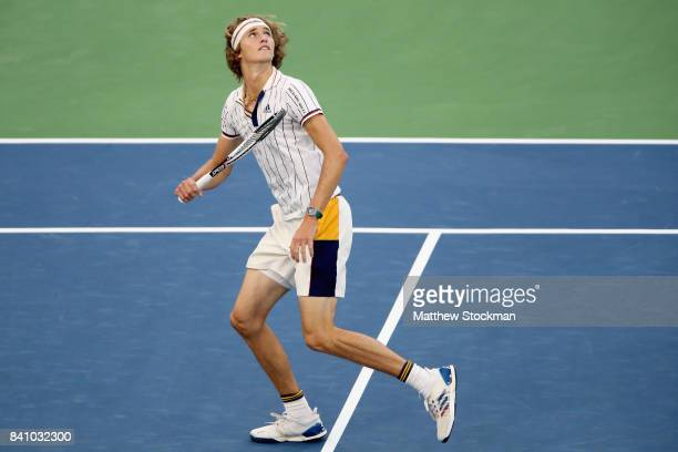 Alexander Zverev of Germany prepares to return a shot against Borna Coric of Croatia during their second round Men's Singles match on Day Three of...