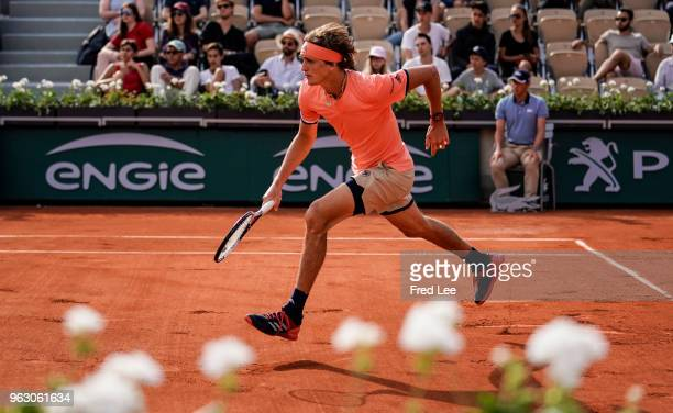 Alexander Zverev of Germany react during his mens singles first round match against Ricardas Berankis of Lithuania during day one of the 2018 French...