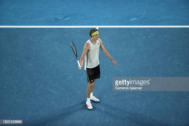 Alexander Zverev of Germany reacts after a line call in his Men's Singles Quarterfinals match against Novak Djokovic of Serbia during day nine of the...