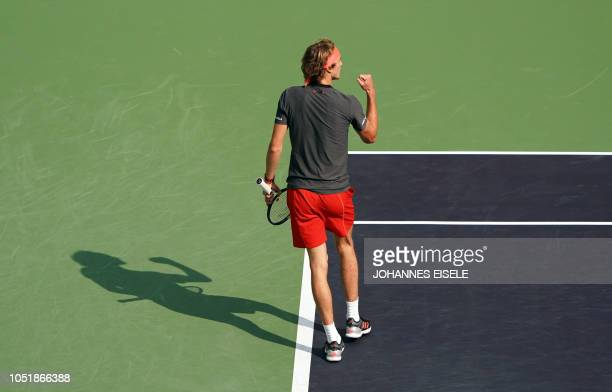 Alexander Zverev of Germany reacts after a point against Alex de Minaur of Australia during their men's singles third round match at the Shanghai...