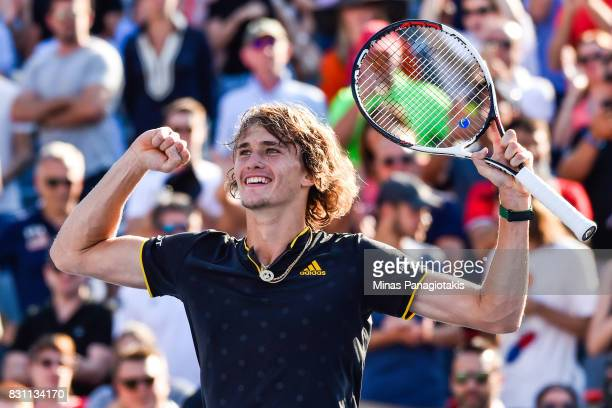 Alexander Zverev of Germany reacts after defeating Roger Federer of Switzerland 63 64 in the final during day ten of the Rogers Cup presented by...