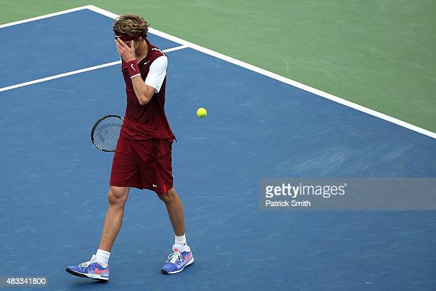 Alexander Zverev of Germany reacts after losing to Marin Cilic of Croatia during the Citi Open at Rock Creek Park Tennis Center on August 7 2015 in...
