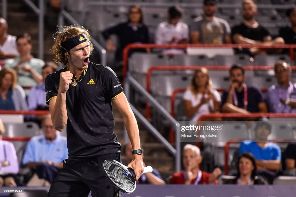 Alexander Zverev of Germany reacts after winning the first set against Kevin Anderson of South Africa during day eight of the Rogers Cup presented by National Bank at Uniprix Stadium on August 11, 2017 in Montreal, Quebec, Canada.