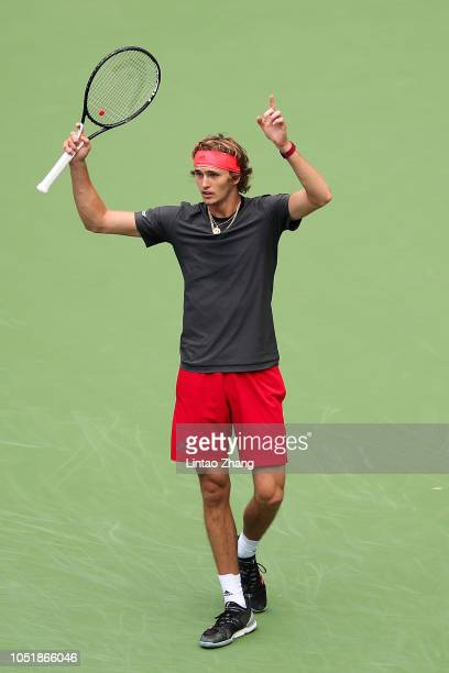 Alexander Zverev of Germany reacts against Alex De Minaur of Australia during they third round of the 2018 Rolex Shanghai Masters on Day 5 at Qi...