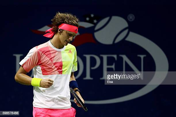 Alexander Zverev of Germany reacts against Daniel Evans of Great Britain during his second round Men's Singles match on Day Four of the 2016 US Open...