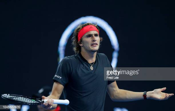 Alexander Zverev of Germany reacts against Malek Jaziri of Tunisia during their Men's Singles 3rd Round match of the 2018 China Open at the China...