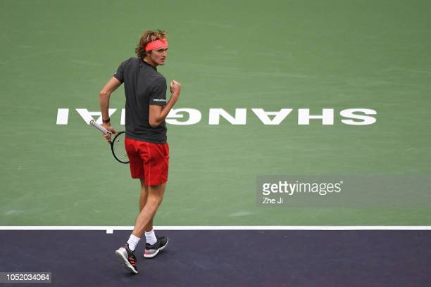 Alexander Zverev of Germany reacts against Novak Djokovic of Serbia during their Singles Semifinals match of the 2018 Rolex Shanghai Masters at Qi...