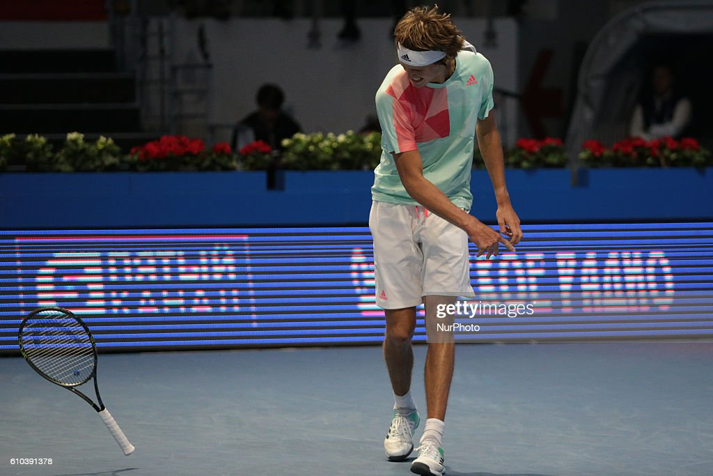 Alexander Zverev of Germany reacts as he competes against Stan Wawrinka of Switzerland during the St. Petersburg Open ATP tennis tournament final match in St. Petersburg, Russia, September 25, 2016.