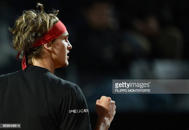 Alexander Zverev of Germany reacts as he plays against David Goffin of Belgium during the ATP Tennis Open tournament in Rome at the Foro Italico on...