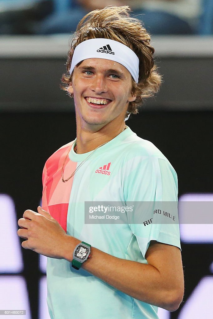 Alexander Zverev of Germany reacts during 'A Night with Novak' at Margaret Court Arena on January 11, 2017 in Melbourne, Australia.