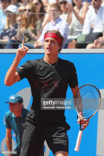 Alexander Zverev of Germany reacts during his finalmatch against Philipp Kohlschreiber of Germany on day 9 of the BMW Open by FWU at MTTC IPHITOS on...