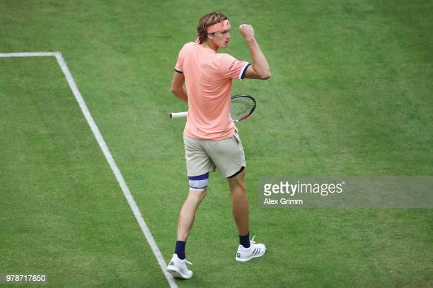 Alexander Zverev of Germany reacts during his first round match against Borna Coric of Croatia during day 2 of the Gerry Weber Open at Gerry Weber...